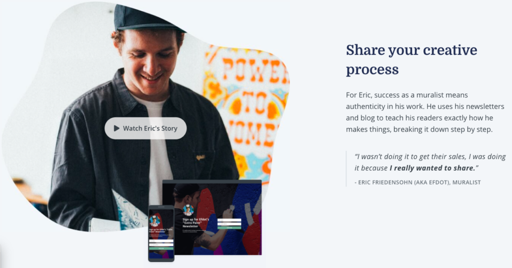 Share your creative process with ConvertKit
