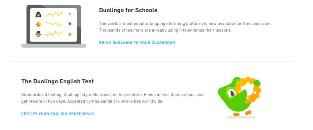 Duolingo for schools & English test
