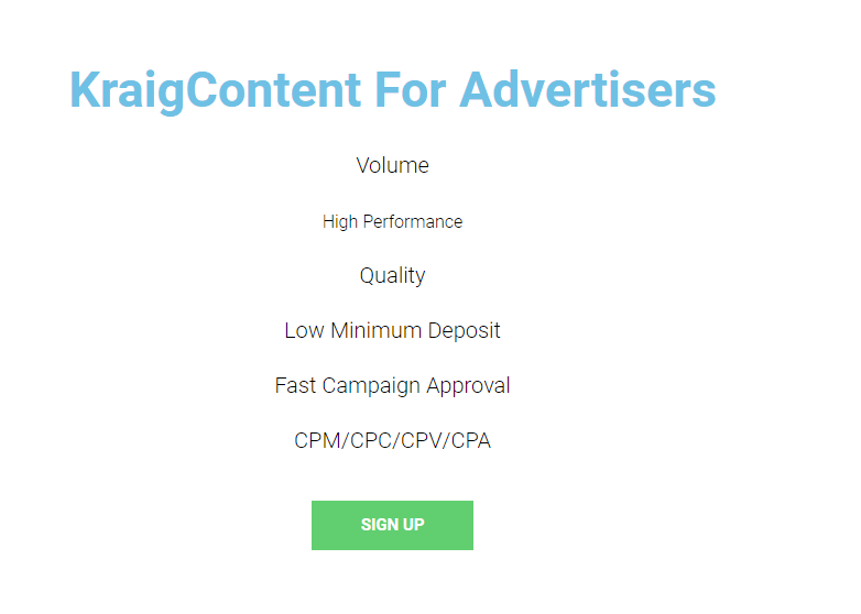 KraigContent for Advertisers