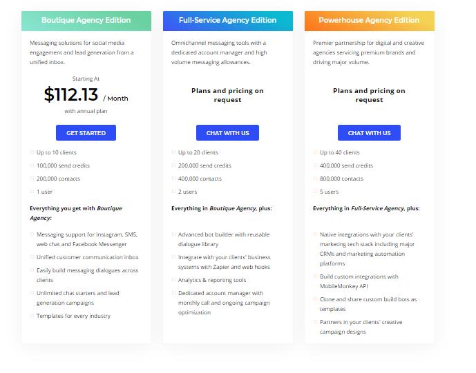MobileMonkey Agencies Pricing