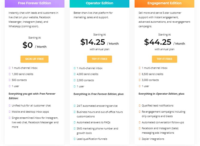 MobileMonkey SMBots pricing