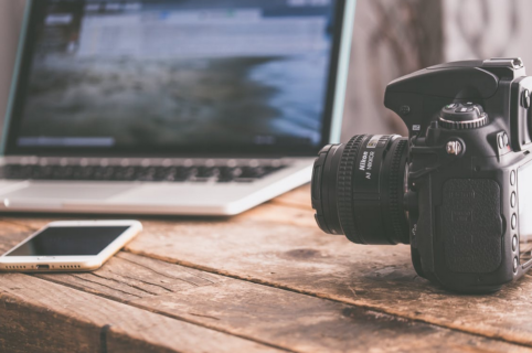 Camera with Laptop for Video Editing