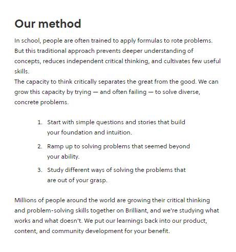 Brilliant learning methodology