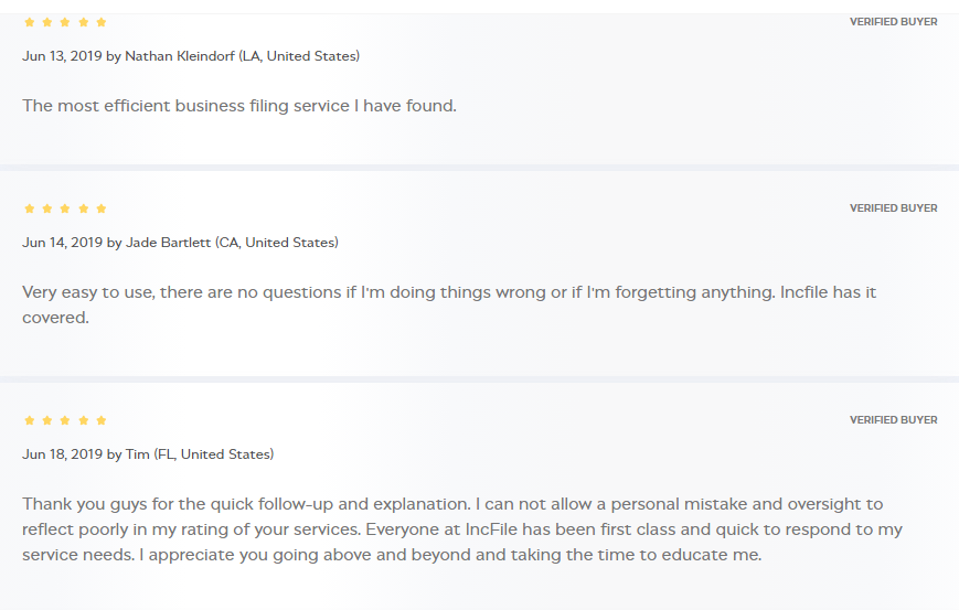 Incfile Customer Reviews