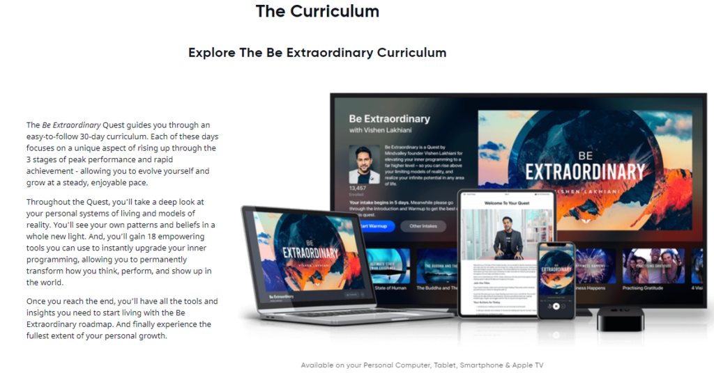 Mindvalley Be Extraordinary Curriculum