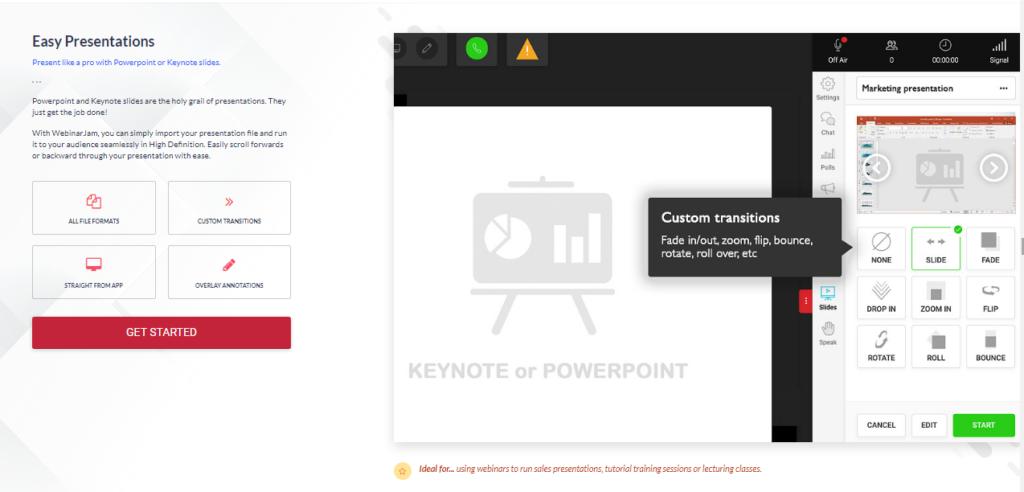 WebinarJam - Various options for presentations